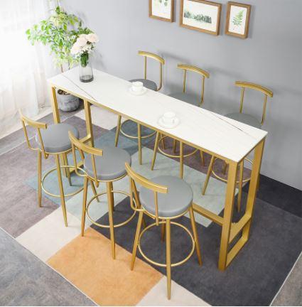 שולחן לאי מטבח ממתכת מעוצבת ושיש יוקרתי כולל 6 כסאות דגם MSH-2-90A מבית ROSSO ITALY