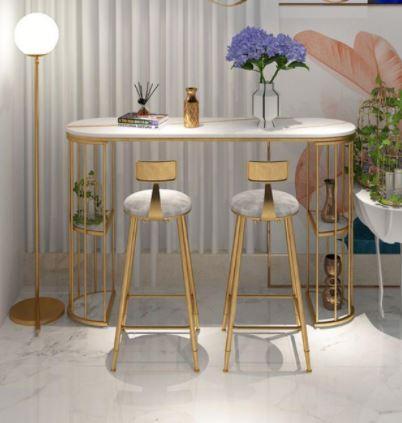 שולחן לאי מטבח ממתכת מעוצבת ושיש יוקרתי כולל 4 כסאות מבית ROSSO ITALY  דגם MSH-2-94A