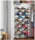"""מתקן נעליים מניקל עם גלגלים עד 50 זוגות דגם sho-02990 מבית honey can do ארה""""ב"""