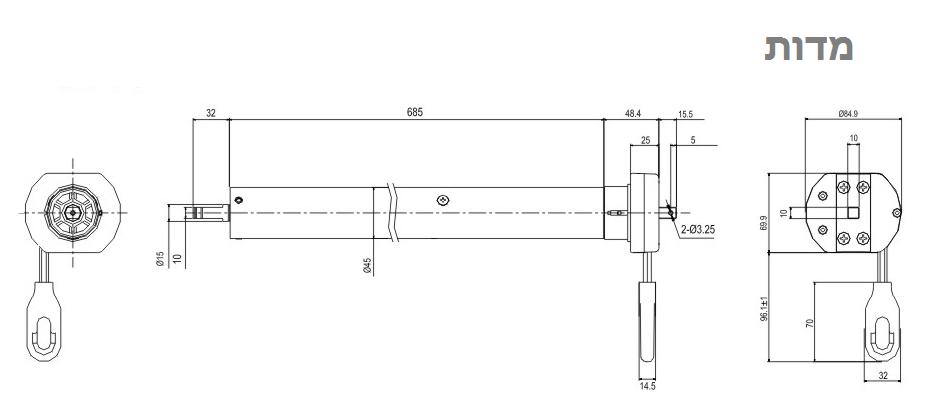 מרענן Domon - מנוע לתריס חשמלי \ גיר ידני {מנואלה} SX-09