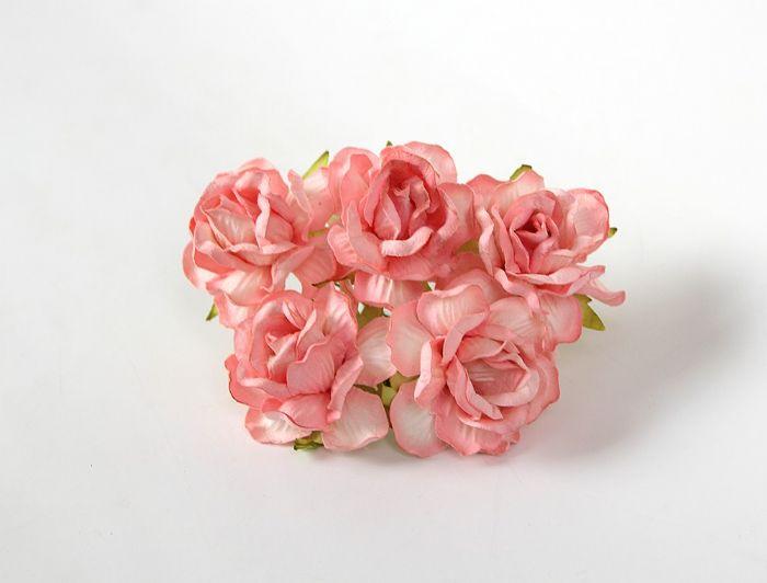 ורד פתוח צבע אפרסק- 5 פרחים