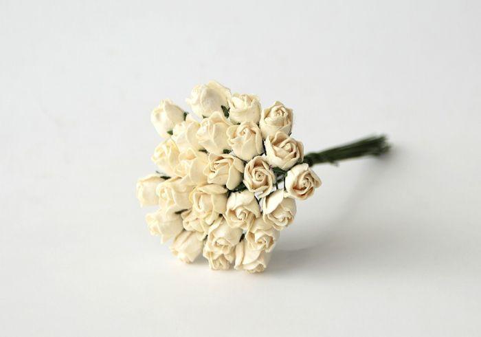ורד חצי פתוח קטן - חלבי- 10 פרחים
