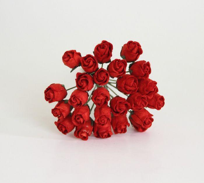 ורד קטן חצי פתוח - אדום- 10 פרחים