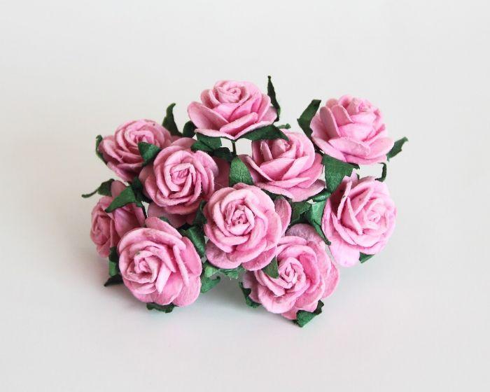 """ורד 2ס""""מ - ורוד- 10 פרחים"""