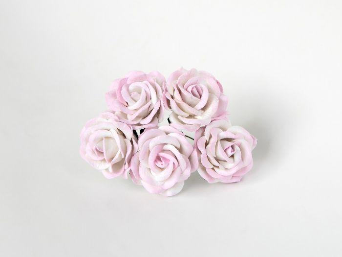 """ורד 4ס""""מ -לבן עם ורוד בהיר- 5 פרחים"""