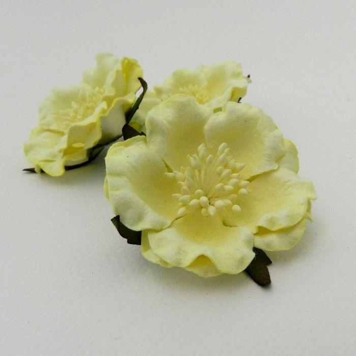 ורד יפני צהוב בהיר 4 פרחים