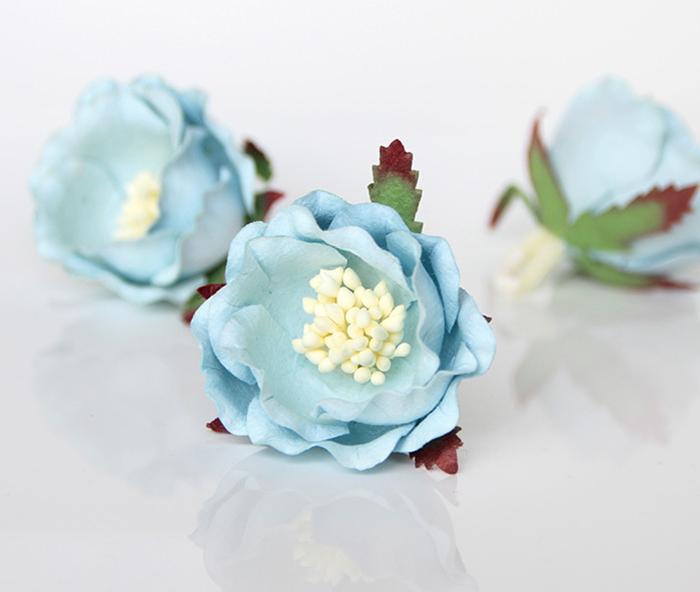 ורד יפני תכלת 4 פרחים