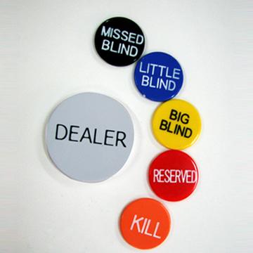 כפתורי דילר DEALER טקסס הולדם סט 6 חלקים מושלם