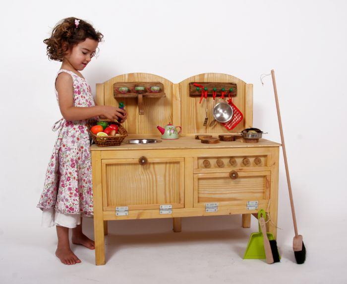 """מטבח עץ לילדים דגם """"איילת"""" רוחב 80 ס""""מ"""