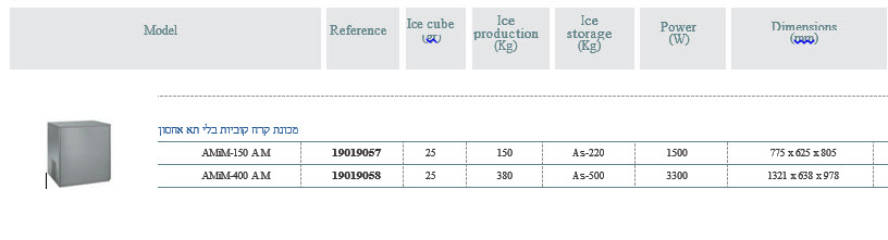 מכונת קרח קוביות ללא תא אכסון