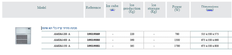 מכונת פתיתי קרח ללא תא אכסון