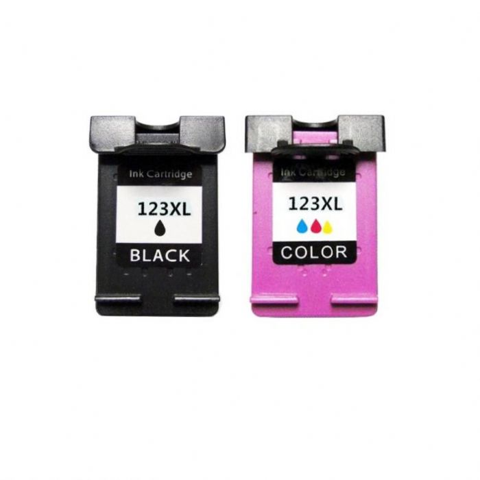 זוג ראשי דיו תואמים HP 123XL (שחור וצבעוני) תואם