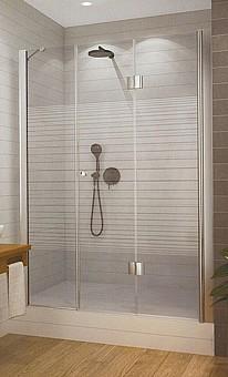 """מקלחון  חזיתי סגירה מלאה  דלת הרמוניקה+דלת קבועה- עד מידה 180 ס""""מ"""