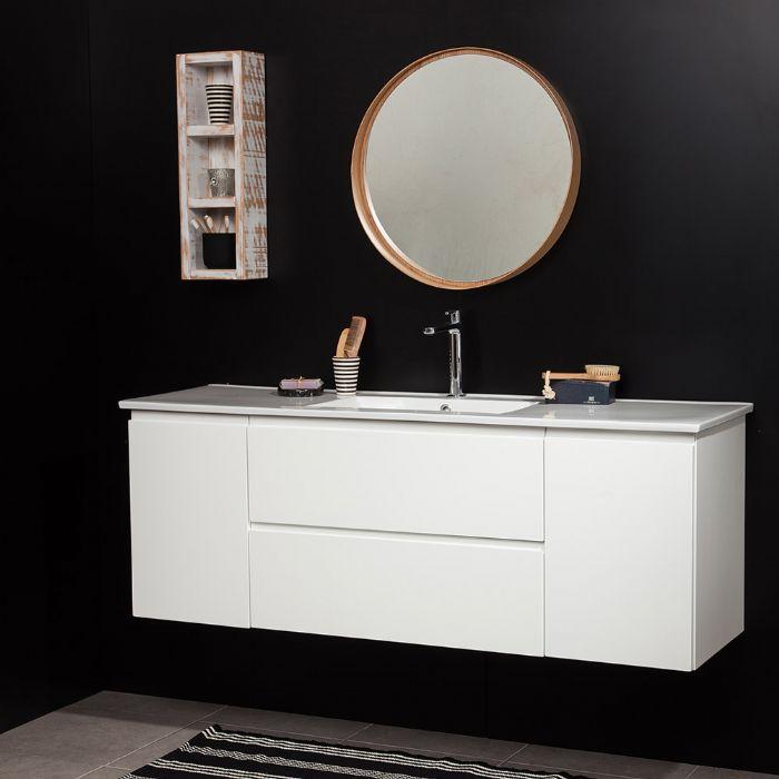 """ארון אמבטיה קומפלט כולל כיור משטח ומראה .דגם רז מידה 150 ס""""מ.-ניתן לקבל גם בגדלים 130/140 ס""""מ.עומק 47 ס""""מ."""
