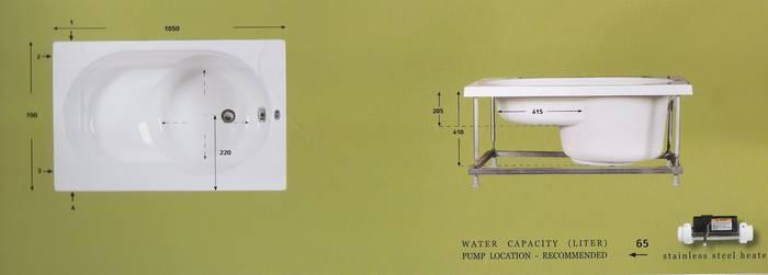 """אמבטיה ישיבה-מידות-105-70 ס""""מ-דגם-74"""