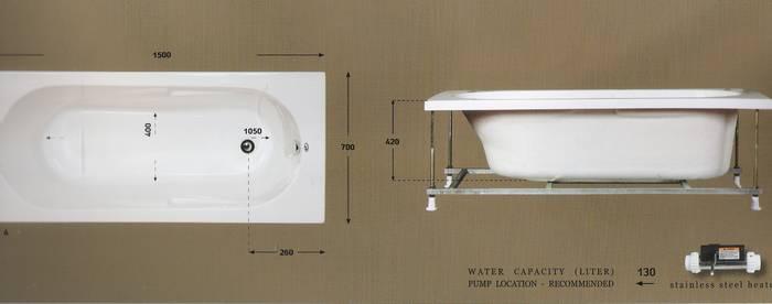 """אמבטיה מלבנית מידות-150-70 ס""""מ-דגם-04"""