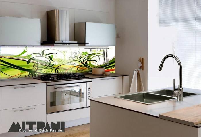 חיפוי זכוכית למטבח דוגמא-12 ציור צבעוני ירוק.
