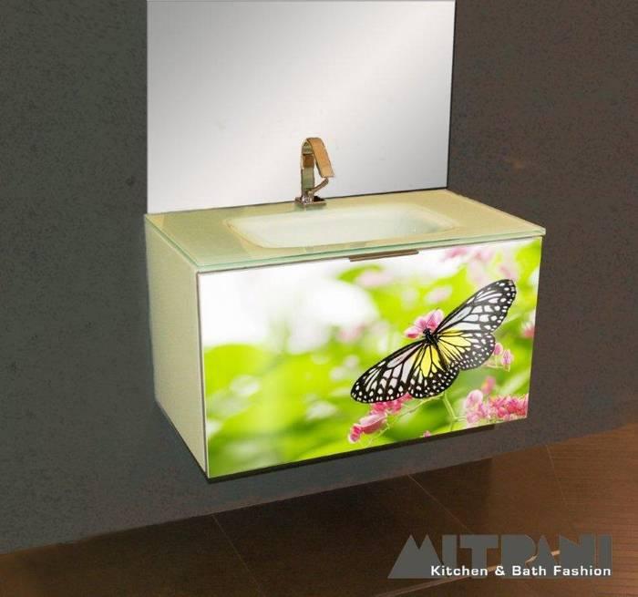 חיפוי זכוכית על חזית ארון אמבט-דוגמא 55 הטבע באמבט.