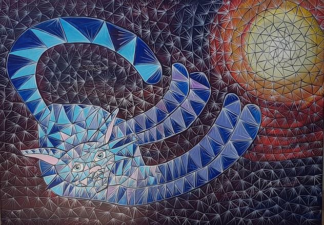 """יאנה גולובנבסקי, טכניקה מקורית של האמנית, 70 על 100 ס""""מ"""