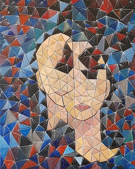 """יאנה גולובנבסקי, טכניקה מקורית של האמנית, 50 על 40 ס""""מ"""