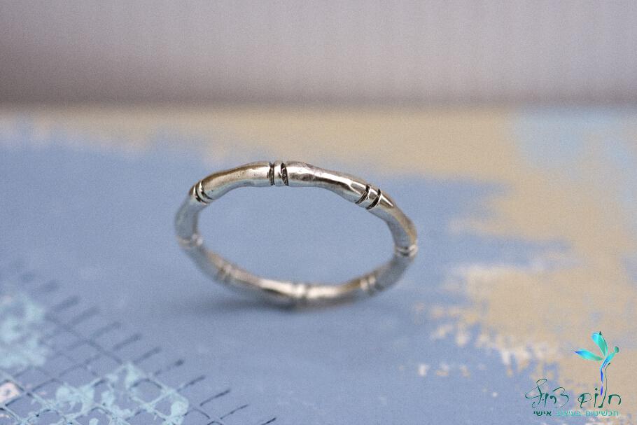 טבעת מכסף סטרלינג בצורת במבוק