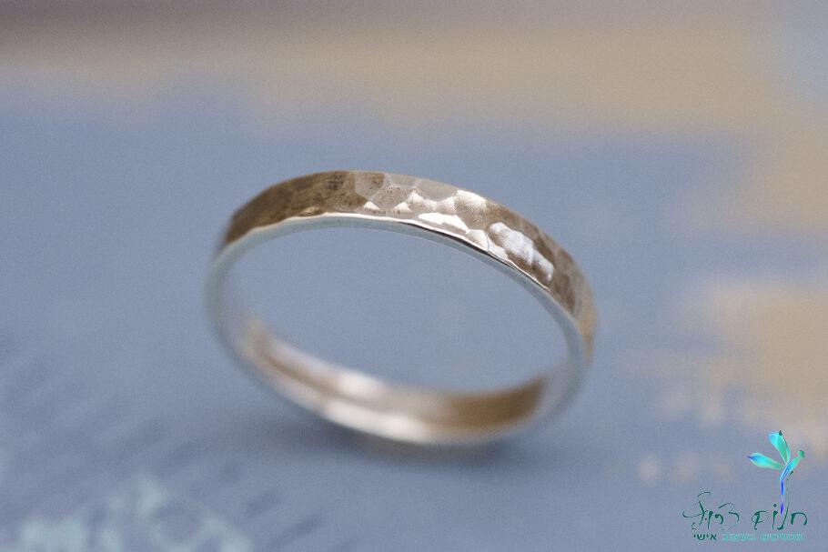 טבעת צרה מכסף סטרלינג מרוקע