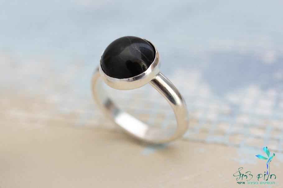 טבעת מכסף סטרלינג משובצת סטאר אוניקס