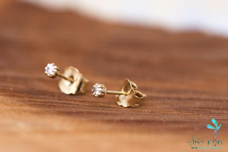 עגילים מזהב 14 קראט משובצים יהלומים