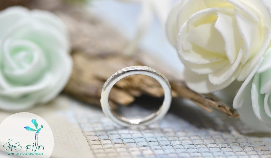 טבעת מכסף סטרלינג מרוקעת למפרק או לאצבע הרגל