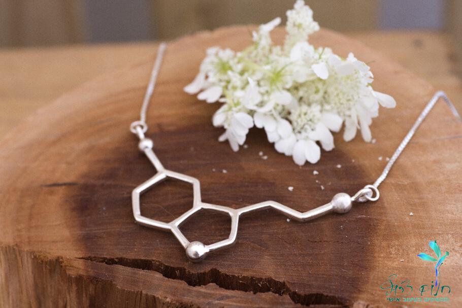 """שרשרת מולקולה סרוטונין """"מולקולת האושר"""" גדולה מכסף סטרלינג"""