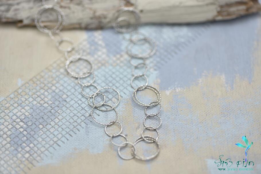 שרשרת חוליות ארוכה מכסף סטרלינג בגימור חיתוך יהלום