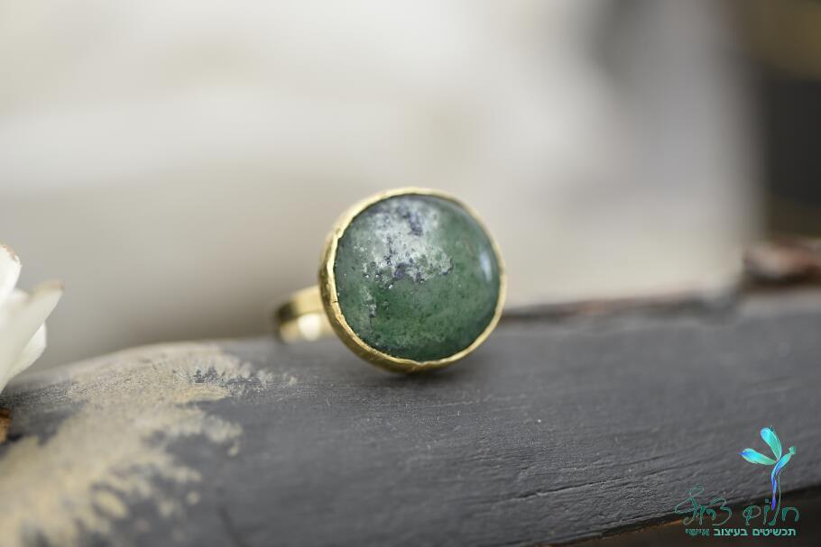 טבעת מזהב 14קראט משובצת אבן אבנטורין
