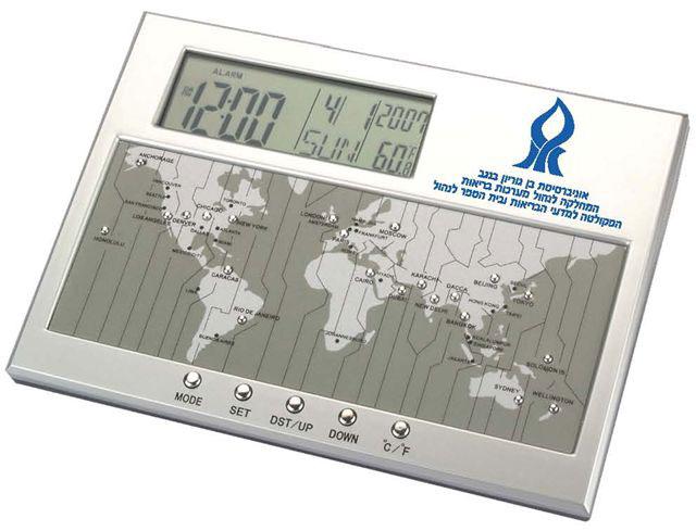 שעון עולמי עם מדחום ותאריכון כולל מפת לחצנים - 1071