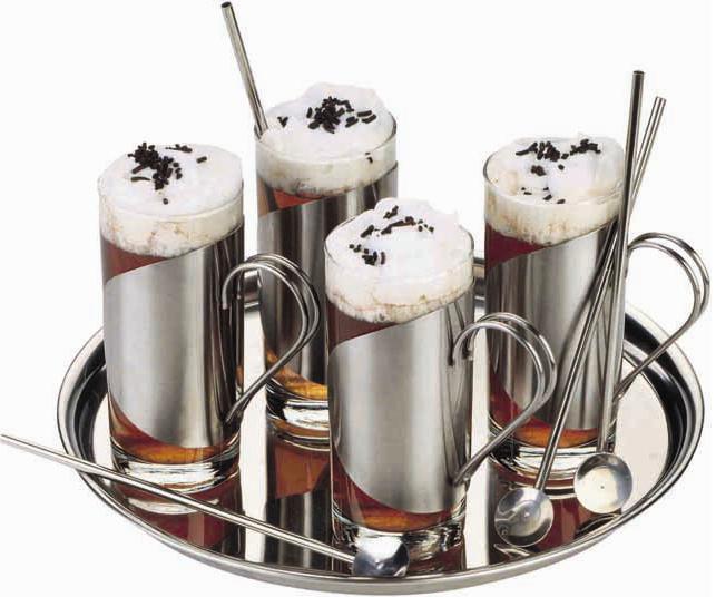 """סט מעוצב """"אירלנד"""" 4 כוסות + תחתיות + כפיות ומגש - 1849"""
