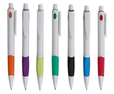 """עט פלסטיק גוף לבן וגריפ גומי """"רימיני-וויט"""" לבתי מלון  - 3773"""