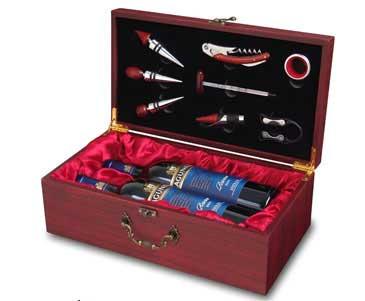 """תיבת עץ מפוארת ל-2 בקבוקי יין עם אביזרים """"בורה"""" (ללא יינות) -3540"""