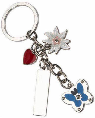 """""""פריחה"""" מחזיק מפתחות עם תליונים ולוחית ללוגו- 4115"""