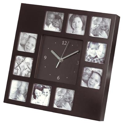 שעון קיר שולחני מעץ ל-10 תמונות - 3556