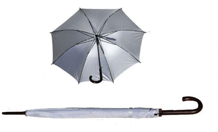 """מטריה 23"""" בצבע לבן עם ידית סבא - 4026"""