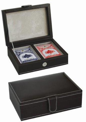 קופסת עור עם שתי חבילות קלפים - 1285
