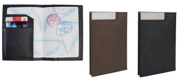 ארנק לדרכון מעור סינטטי עם לוחית - 3658