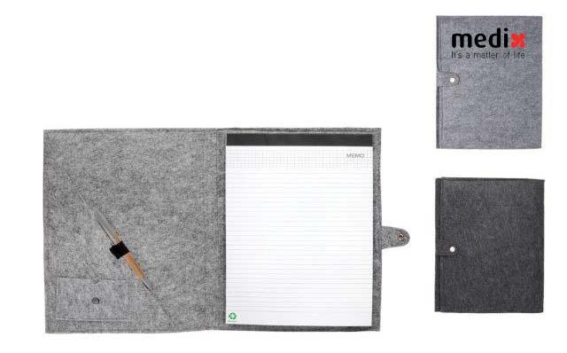 מכתבייה A4 בכריכת בד קנבס ממוחזר עם סגר ועט - 4224