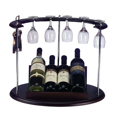 """מעמד עץ לבקבוקי יין + כוסות ופותחן (ללא יין) מק""""ט 1713"""