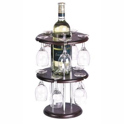 מעמד עץ עגול לבקבוק יין + 10 כוסות מהודר(ללא יין) - 1714