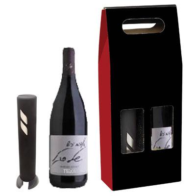 מארז מתנה עם בקבוק יין אדום ופותחן יין חשמלי מהודר-1718