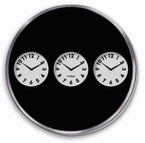 שעון קיר עגול ענקי עם שלושה אזורי זמן -  2806