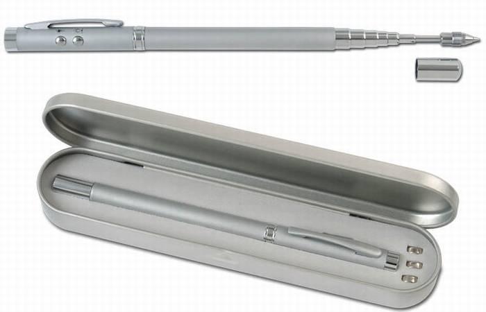 עט סמן לייזר ופנס לד עם אנטנה נשלפת באריזת מתנה - 2165