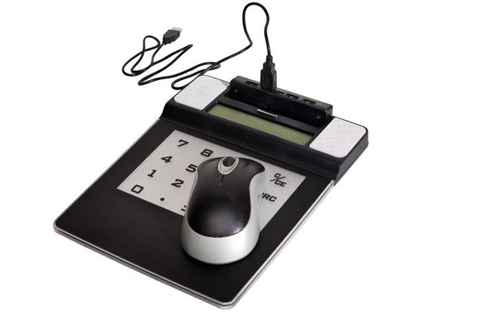משטח לעכבר מולטי עם מחשבון ורמקולים ומפצל יואסבי - 2224