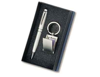 סט מתנה שכולל עט מתכת עם מחזיק מפתחות תמונה - 1205