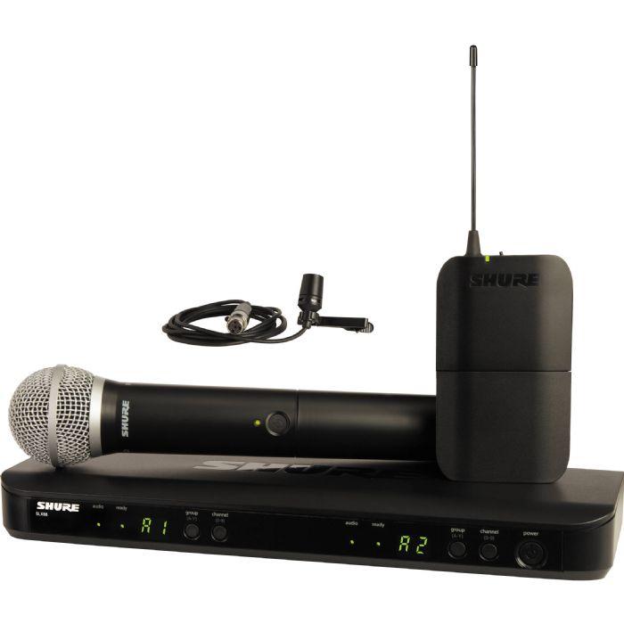 סט אלחוטי כפול מיקרופון דש ומיקרופון ידני Shure BLX1288E/CVL